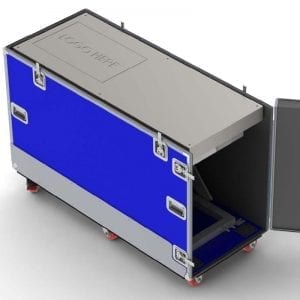58-1650a2 Conveyor belt simulator shipping case with mechanical lift