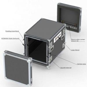 80-597 Custom shockmount case with square holes - 12U x 30D