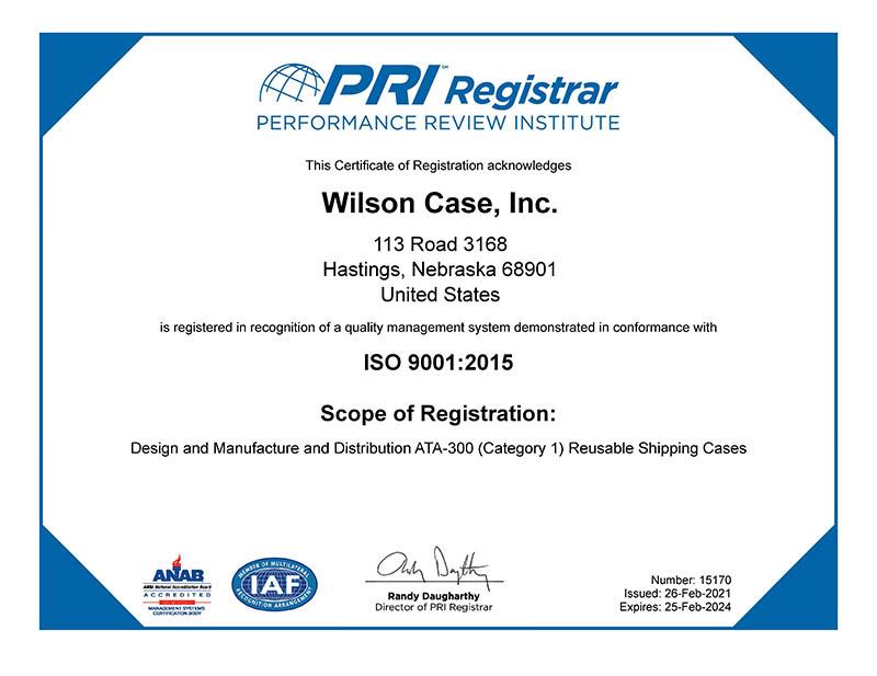 Wilson Case ISO 9001:2015 Certificate
